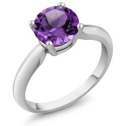 Gem Stone King 1.10 Ct Round Purple Amethyst 925 Sterling Silver Women's Solitaire Ring (Available 5,6,7,8,9)