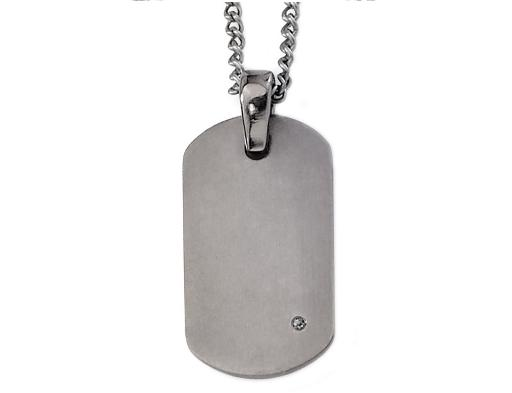 Mens Pendant Necklace in Titanium with Diamond Accent and Chain