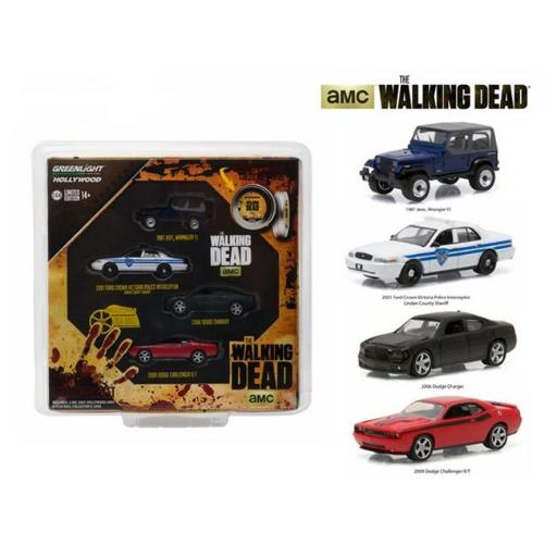 Greenlight 59040B Hollywood Film Reels Series 4 The Walking Dead 2010-Current TV Series 4 Cars Set 1-64 Diecast Model Cars