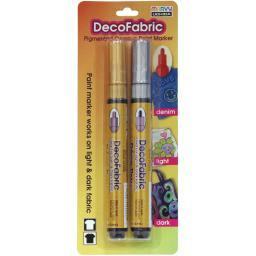 DecoFabric Markers 2/Pkg Gold/Silver