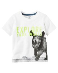Carter's Little Boys' Explore Your World Graphic Tee, 4 Kids