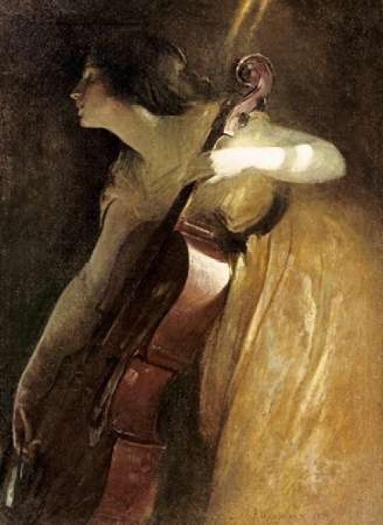 A Ray of Sunlight - The Cellist Poster Print by  John White Alexander