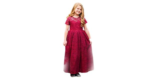 7b9d3359ffb Just Couture Little Girls Wine Leah Lace Short Sleeve Flower Girl ...