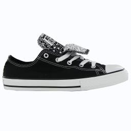 Kids Converse Girls Chuck Taylor All Star Double Tongue Canvas Low Top Lace U...