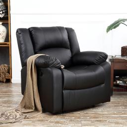 Belleze Padded Recliner Chair Plush Leather Overstuffed Armrest and Back, Black
