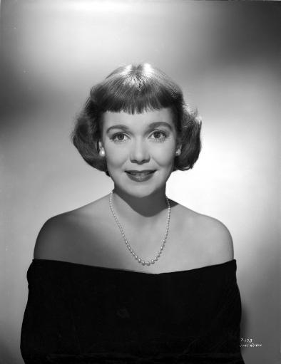 Jane Wyman Portrait in Black Long Sleeve Shoulder Dress and Pearl Earrings with Pearl Necklace Photo Print