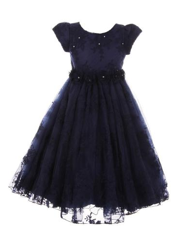 Big Girls Navy French Chantilly Lace T-Length Junior Bridesmaid Dress 8-12
