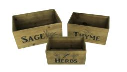 Sage Thyme and Herbs Decorative Wooden Storage Crates Set of 3