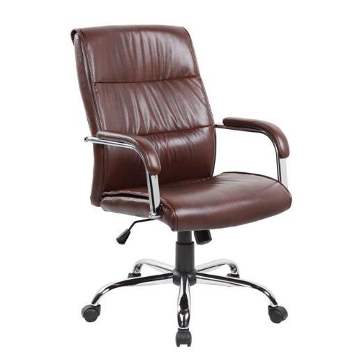 United Seating UOC-9249H-BR Executive High-back Grey PU & PVC Leather Office Chair with Thick Padded Back & Seat with Chrome Base, Brown