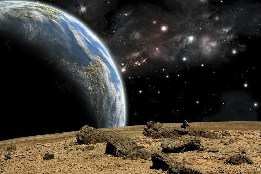 An artist's depiction of the view from a rocky and barren alien world. A large Earth-like planet rises over the airless environment. Poster Print