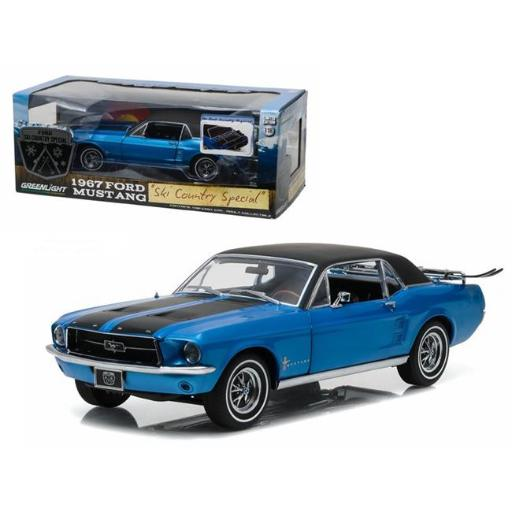 Greenlight 12965 1-18 1967 Ford Mustang Coupe Ski Country Special Vail Diecast Model Car, Blue