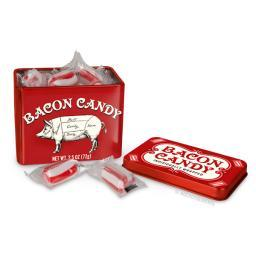 Bacon Candy Red And White Individually Wrapped Funny Humor Tin