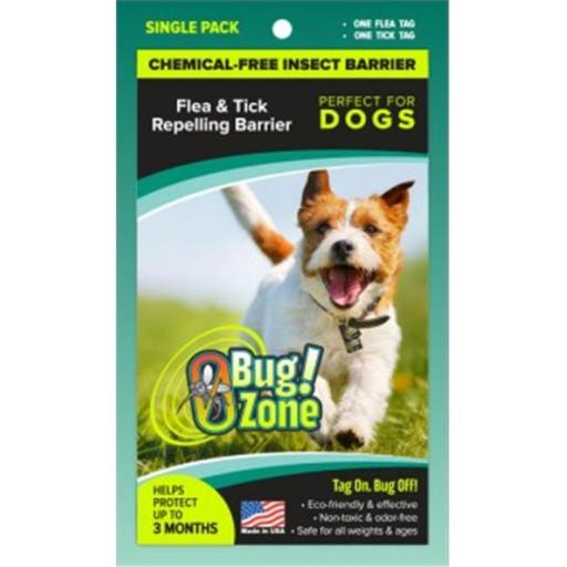 0Bug Zone Flea Tick Barrier Single Pack Tags for Dogs
