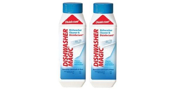 Dishwasher Magic Dishwasher Cleaner 2 Bottle Pack .Dishwasher Magic Dishwasher Cleaner.2 Bottle Pack.12 oz Bottle.Keeping your dishwasher clean is an important part of making sure that your pots, pans and dishes remain clean as well. Dishwasher Magic Cleaner will completely remove lime scale, iron, soap scum, food and any other residue that can build up in a dishwasher over time. This Dishwasher Disinfectant & Cleaner will remove 99.9 percent of all germs, which will help ensure clean dishes each and every time. Making sure that all residues are removed can also extend the life of your dishwasher. Simply place Dishwasher Magic Cleaner inside of your dishwasher and let it do the cleaning for you. This bottle of Dishwasher Cleaner is 12oz.Dishwasher Magic Dishwasher Cleaner:.Cleans.Kills germs.Removes Limescale & Rust.