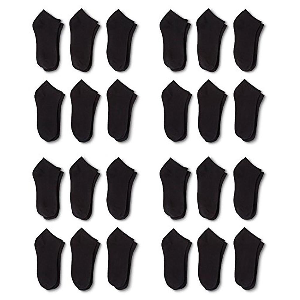 24 Pairs Men's Classic Low Cut Socks 9-11 or 6-8 Black or White or Mixed