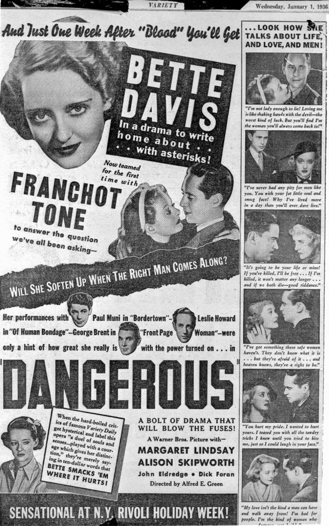 A Promotional Poster For Dangerous Photo Print