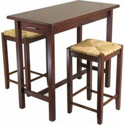 Winsome 94374 Three Piece Kitchen Island Set with Rush Stools