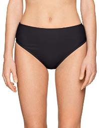 24th & Ocean Women's Solid Mid Waist Hipster Bikini, Black//Solid, Size Large