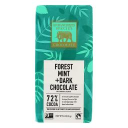 Endangered Species - Dark Chocolate Bar 72% Cocoa Forest Mint