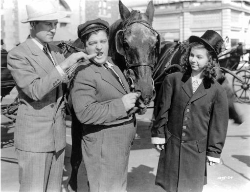 Abbott & Costello Posed with a Horse Photo Print