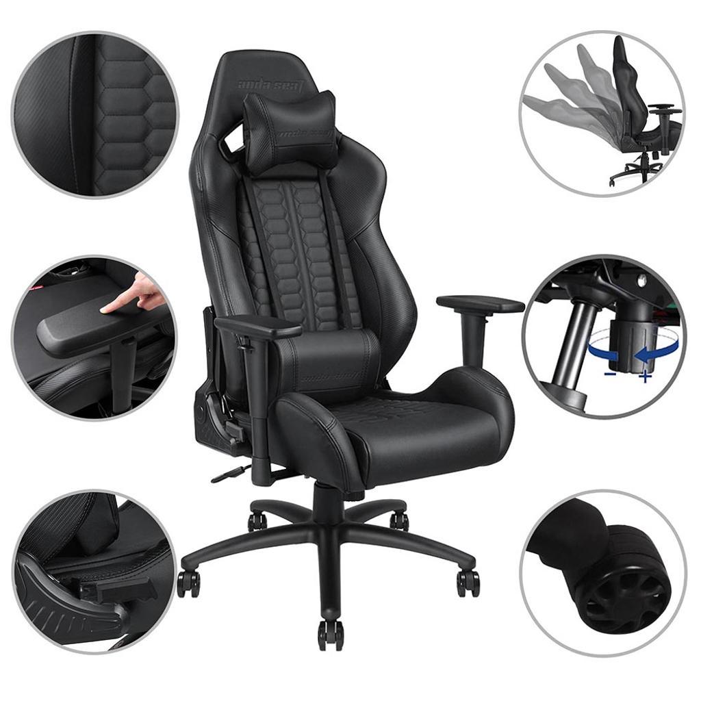 Anda Seat Ergonomic Racing Chair Gaming PVC Vinyl Leather Tilt Adjustable High-back w/ Headrest & Lumbar Cushion