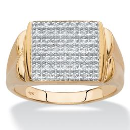 Men's Diamond Square Grid Ring 1/4 TCW in Solid 10k Yellow Gold