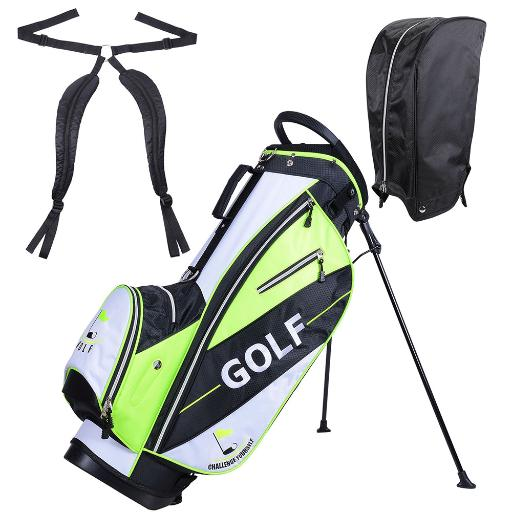 Men's Golf Club Bag 15x11x35' 600D Golf Carry Bag w/ 7 Pockets For Male Adult Golf Accessory Green