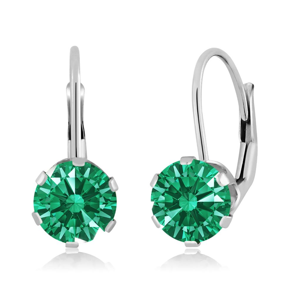 14K White Gold Dangle Earrings Set with Round Green Zirconia from Swarovski