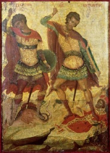 Saint George & Saint Demetrius, 16th Century, Michael Damaskenos, Wood Poster Print