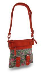 Sparkling Butterfly Camo Textured Vinyl Trim Cross Body Bag w/Adjustable Strap
