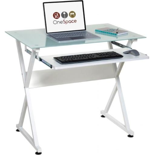 OneSpace 50-JN1201 Ultramodern Glass Computer Desk with Pull-Out Keyboard Tray, White