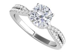 Criss Cross Design CZ Ring in 925 Sterling Silver