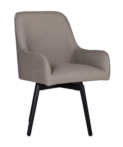 Studio Designs Home Spire Luxe Swivel Dining / Office Chair with Arms and Metal Legs in Camel Brown