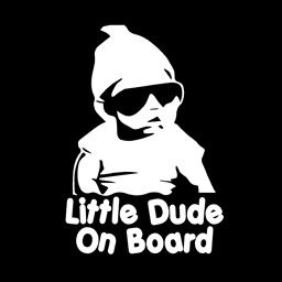 "Little Dude ON Board Vinyl Decal - Size: 7"", Color: Gloss White - Windows, Walls, Bumpers, Laptop, Lockers, etc."