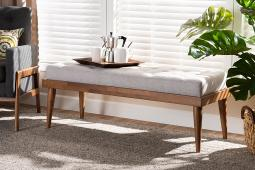 Baxton Studio Linus Mid-Century Modern Greyish Beige Fabric Upholstered and Button Tufted Wood Bench