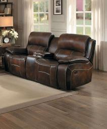 Leatherette Upholstered Dual Recliner Loveseat With Console, Brown