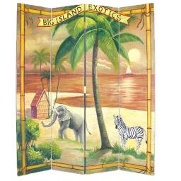 Wooden 4 Panel Room Divider with Ocean and Beach Scene, Multicolor