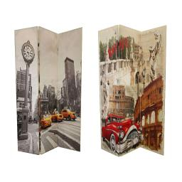 Double Sided 3 Panel Room Divider with ROME Theme Print, Multicolor