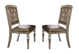 Wood & Leather Dining Side Chair With Crystal Tufting, Silver, Set Of 2