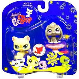 Littlest Pet Shop Assortment 'A' Series 4 Collectible Figure Cat and Bunny with Pedestal