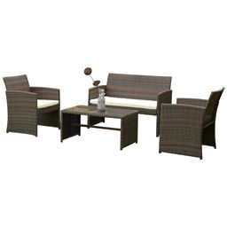 4 pcs Patio Rattan Wicker Furniture Set