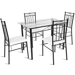 5 pcs Tempered Glass Tabletop Dining Set