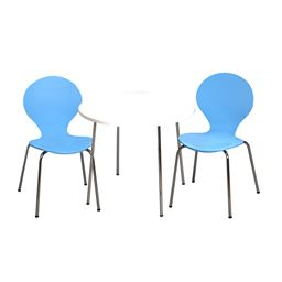 Gift Mark Modern Childrens Table and 2 Chair Set with Chrome Legs (Blue Color Chairs)