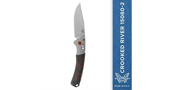 Benchmade - Crooked River EDC Manual Open Hunting Knife 15085-2 Made in USA, Clip-Point Blade, Plain Edge, Satin Finish, Wood Handle thumbnail