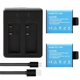 AKASO 2 x 1050mAh Low Temperature Resistant High Capacity Rechargeable Battery with USB Dual Charger for AKASO EK7000/EK7000 Plus/EK7000 Pro/Brave 4/ Dragon Touch Vision 3/Vision 4 Action Camera