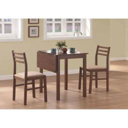 Offex OFX-284084-MO Walnut 3 Piece Solid-Top Drop Leaf Dining Set