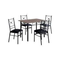 Offex OFX-503682-MO Home Kitchen 5 Piece Dining Set - Black Metal/Dark Taupe