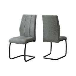 "Offex OFX-503720-MO Home Kitchen 2 Piece Dining Chair - 39""H/Grey Fabric/Black Metal"