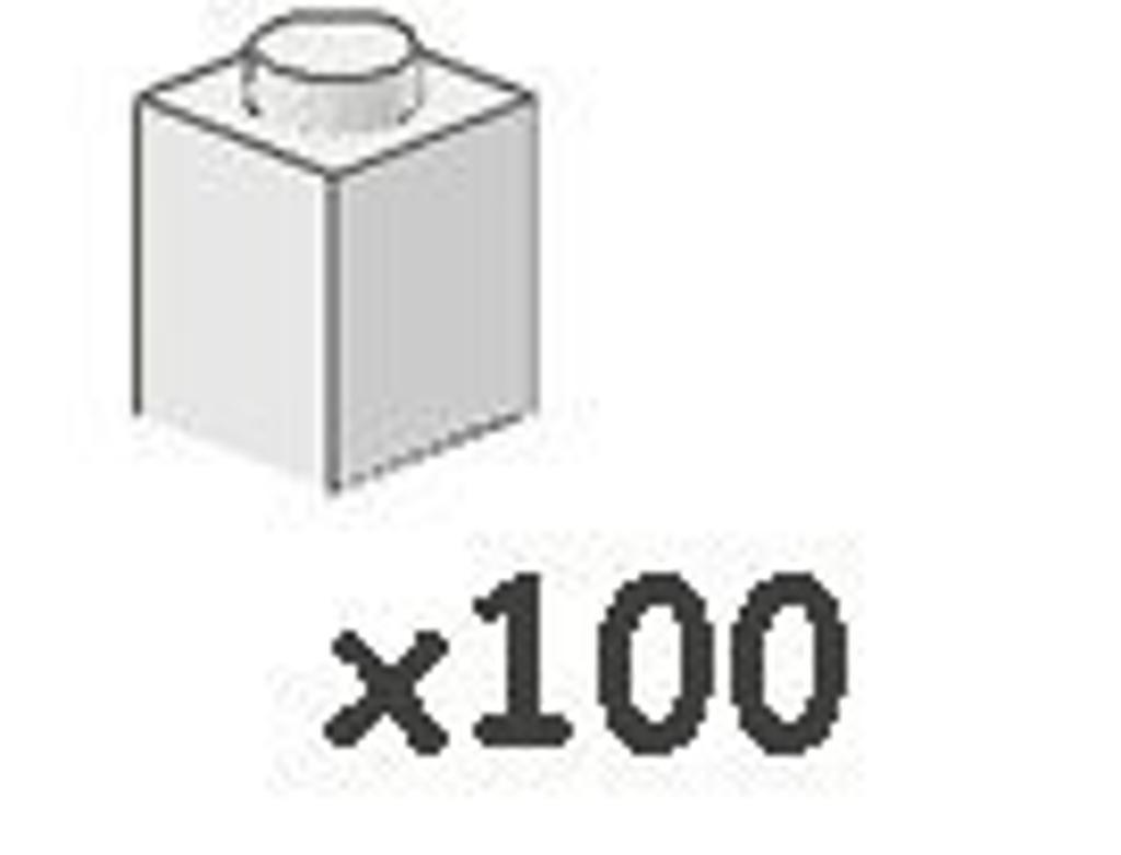 100 Lego 1x1 White Bricks