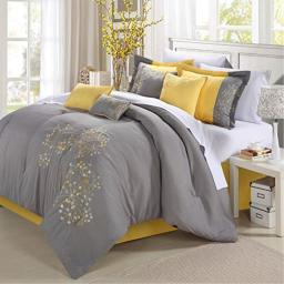 Chic Home 8-Piece Embroidery Comforter Set, Queen, Pink Floral Yellow